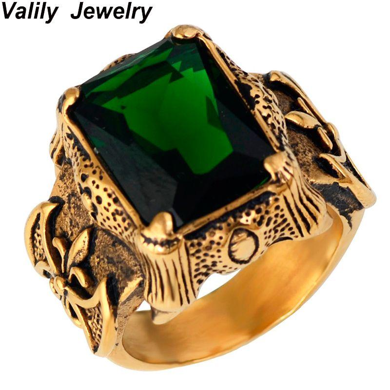 Color Dorado hombres Vintage Gothic Dragon Claw Biker anillo Banda verde Cristal de LA CZ, cruz del acero inoxidable joyería del anillo de dedo