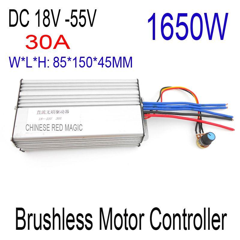 Freies Verschiffen 1650 Watt Brushless motor controller 30A DC 18 V 24 V 36 V 48 V 55 V Motor stick pwm bldc-motor controller
