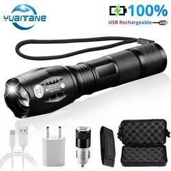 USB Flashlight 2500Lums Lanterna LED L2/T6 Tactical Torch Zoomable High Power Flashlights Rechargeable Built-in 2400mAh Battery