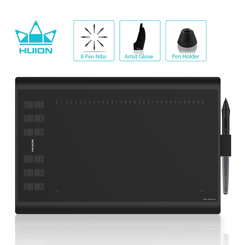 HUION H1060P Graphic Drawing Tablet Battery- free Stylus Tilt Support Digital Tablet with 8192 Pen Pressure 12 Express Keys
