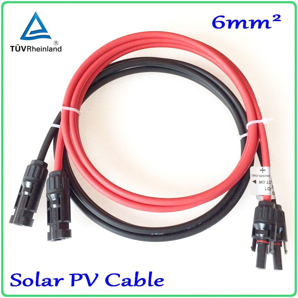 Solar PV Cable 6mm2 with MC4 connector Tinned-Copper Conductor TUV approved XLPE insulation solar cable wire