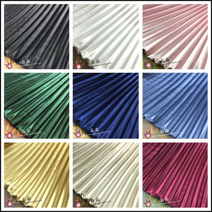 Vêtements en tissu plissé couleur uni grande rayures organe imitation soie fil n'est pas transparente jupe tissu