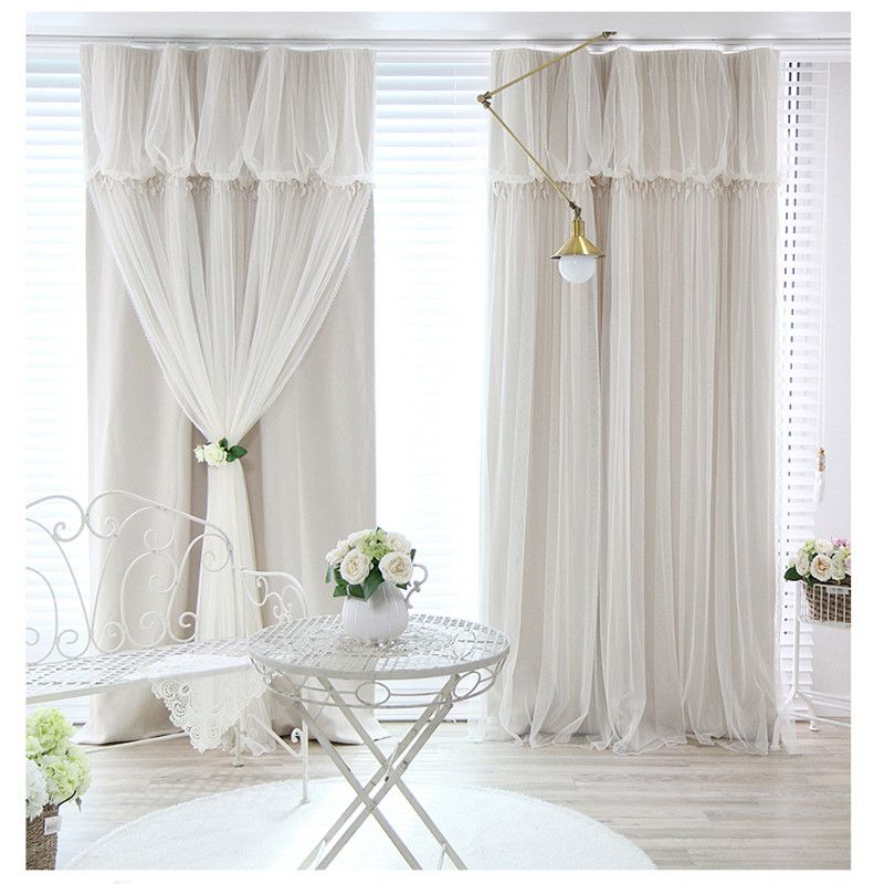 Tassels head top blackout curtain cloth curtain+voile sheer tulle curtains for living room bedroom curtain window drapes panels