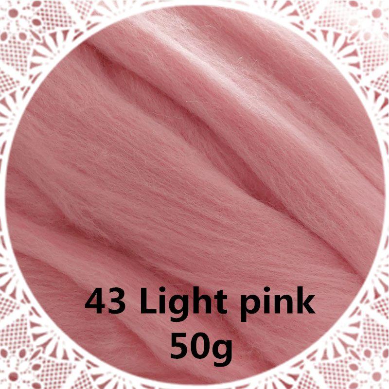 Livraison gratuite main Feutre De Laine pour le feutrage 50g Lumière rose Parfait en Feutre Aiguilleté 29 #