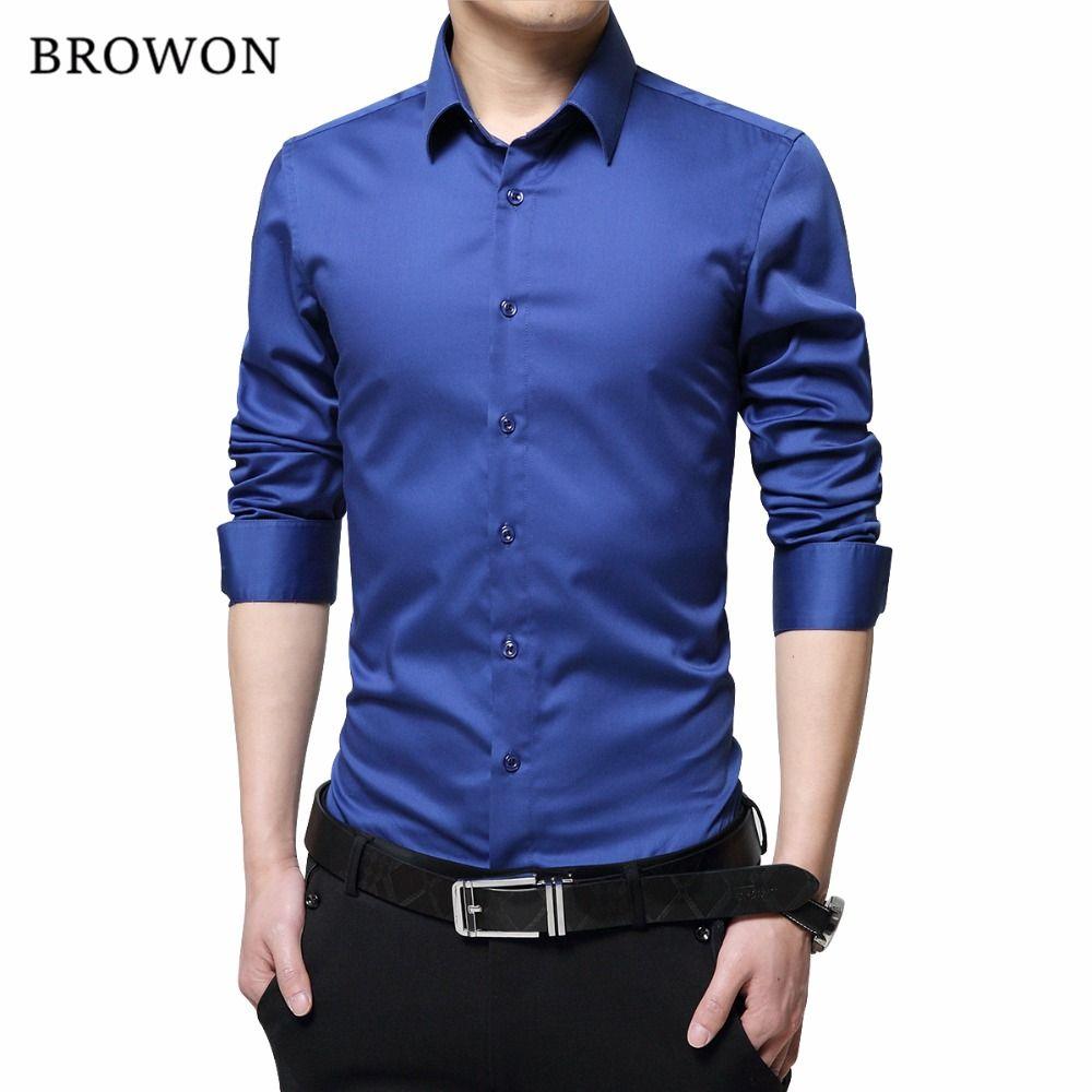 BROWON Brand Men Dress Shirts Mercerized Cotton Solid Color Slim Fit Long Sleeve Silk Shirt Smooth Mens Shirts Big Sizes S-5XL