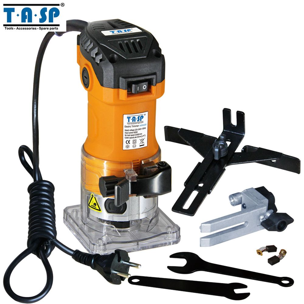TASP MPR600 600W Electric Laminate Edge Trimmer 6.35mm Collet Mini Router Wood Carving Machine Carpentry Woodworking Power Tools