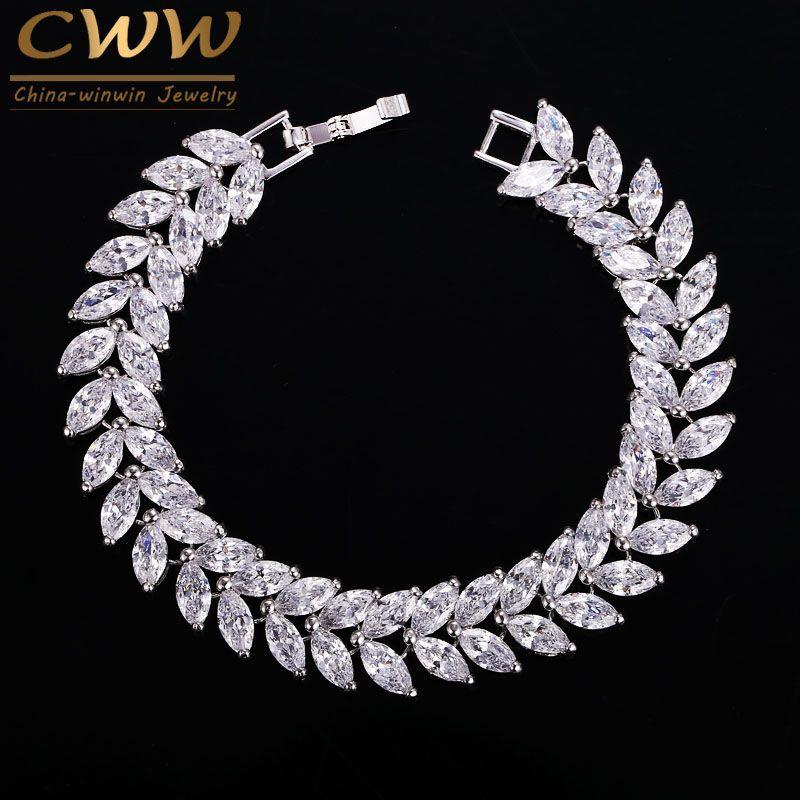 CWWZircons 2018 Bijoux De Luxe AAA + Suisse Cubique Zircon Feuille Forme Vintage De Mariage De Mariée Bracelet & Bracelet Pour Les Femmes CB140