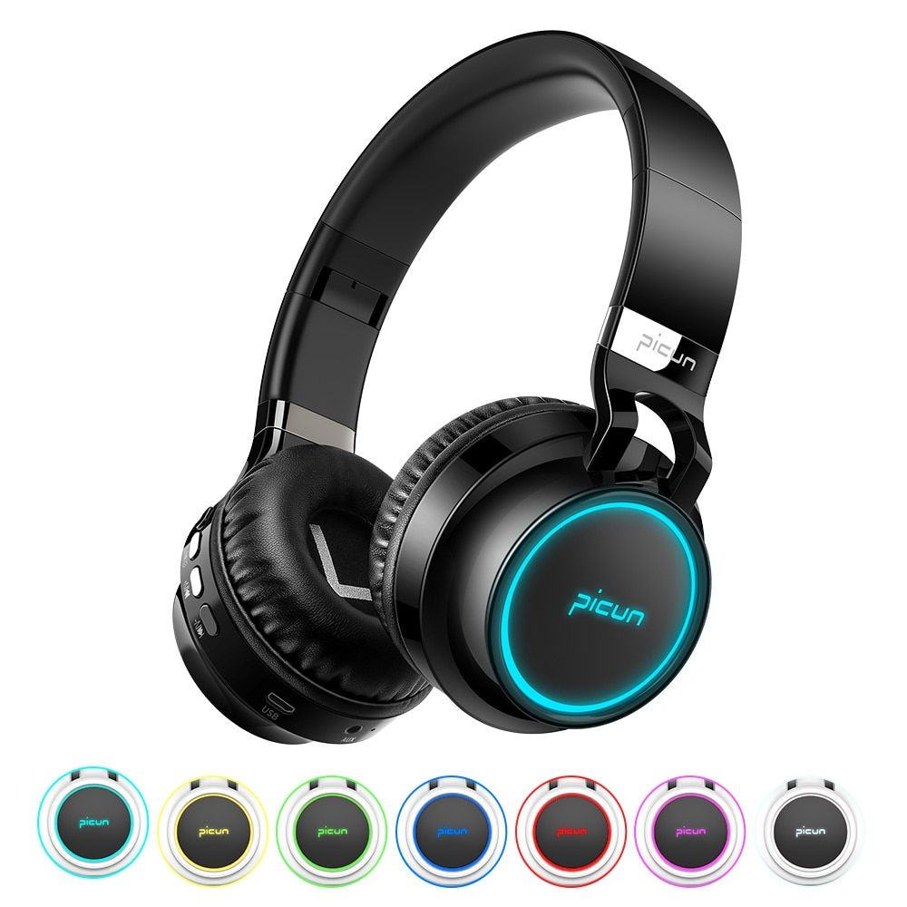 Sound Intone P60 Wireless Bluetooth Headphones LED Over Ear Foldable Headphone 20h Playtime TF Card 3D Stereo Bluetooth Headset