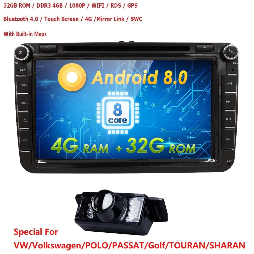 2DIN android 8.0 OctaCore 4G+32G car dvd audio multimedia for Volkswagen VW Golf beetle passat CC EOS jetta polo Skoda/Seat/Leon