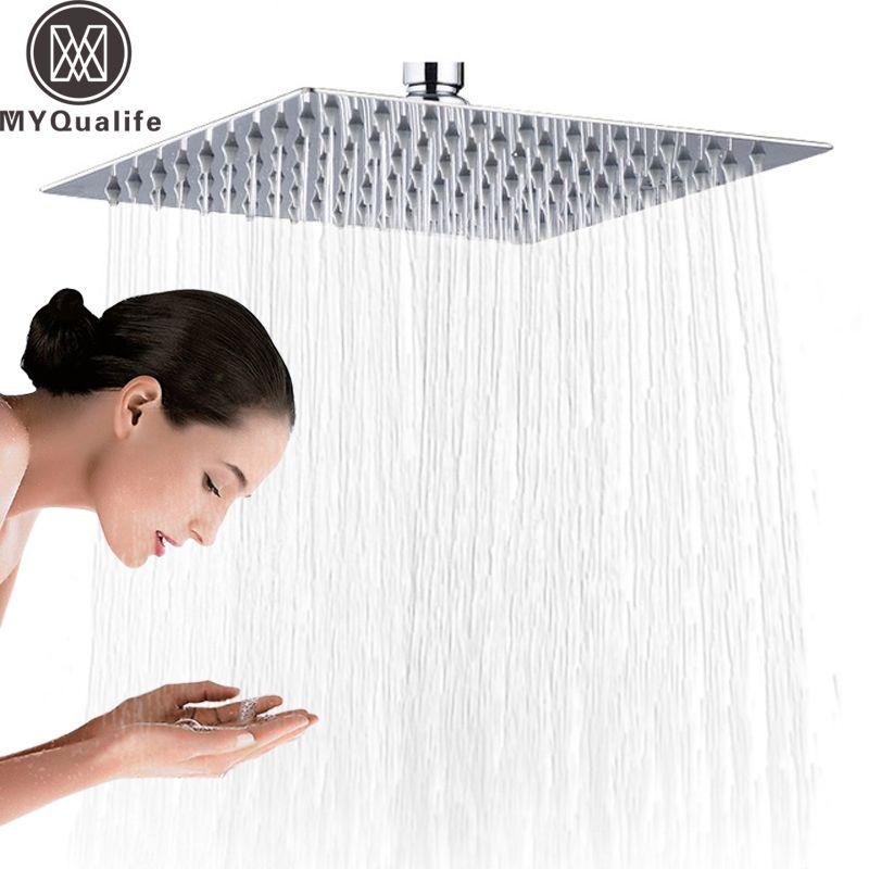 Chrom 16 zoll Platz Regen Dusche Kopf Ultradünne Edelstahl Showerhead Chrome Finish Regen Kopf Dusche Wasserhahn Kopf