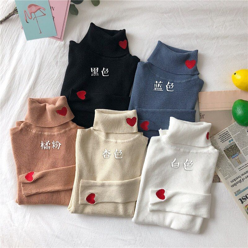 Womens Sweaters 2018 Winter Tops Turtleneck Love Sweater Thin Pullover Jumper Knitted Sweater Pull Femme Hiver Truien Dames New