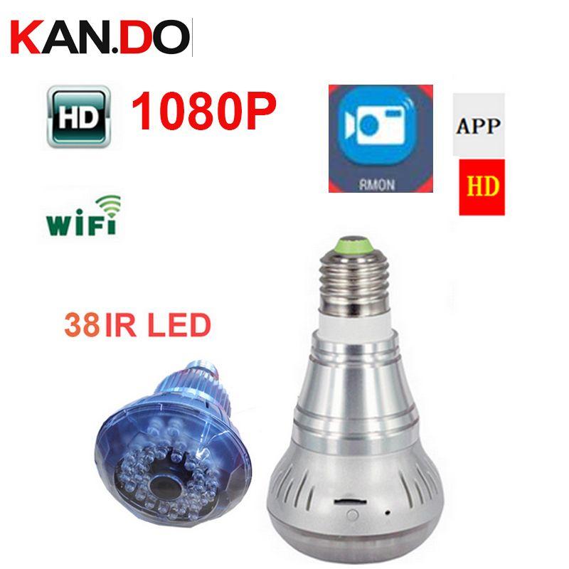 Wifi IP lamp shape Camera P2P wifi camera Surveillance Camera 1080P Mini Smart 38LED Night Vision security bulb cctv camera