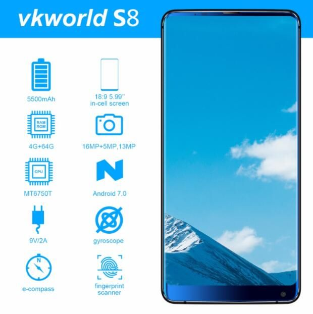 VKworld S8 4G FDD MTK6750T Octa Core 5.99 Inch 18:9 Full Screen 4GB 64GB Android 7.0 OTA 16MP Camera Fingerprint Mobile Phone