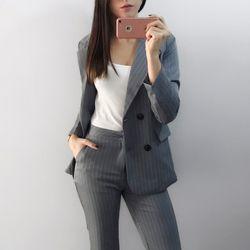 Рабочие модные брючный костюм комплект из 2 частей для Для женщин двубортный в полоску Блейзер Куртки и брюк Офисные женские туфли костюм ...