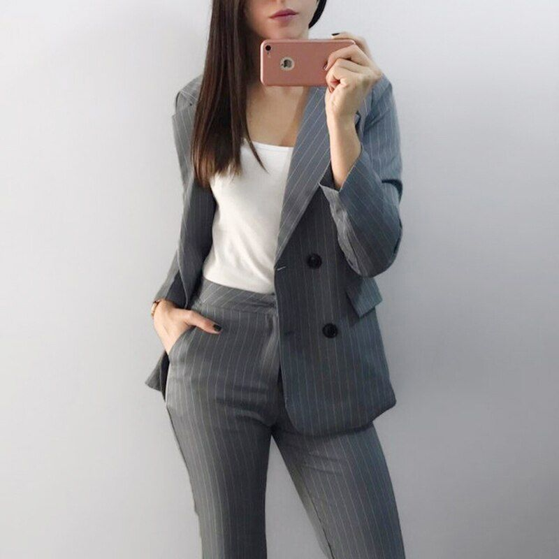 Work Fashion Pant Suits 2 Piece Set for Women Double Breasted Striped Blazer Jacket & Trouser <font><b>Office</b></font> Lady Suit Feminino 2018