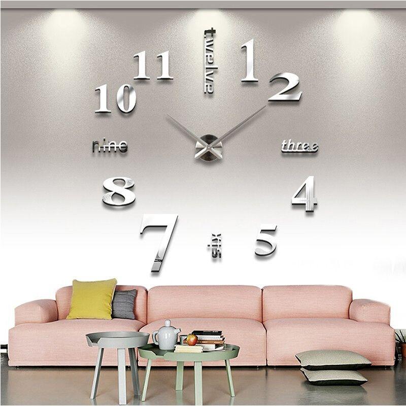 2018 vente chaude décoration de la maison 3d miroir horloges personnalité de la mode diy Circulaire salon grande horloge murale montre livraison gratuite