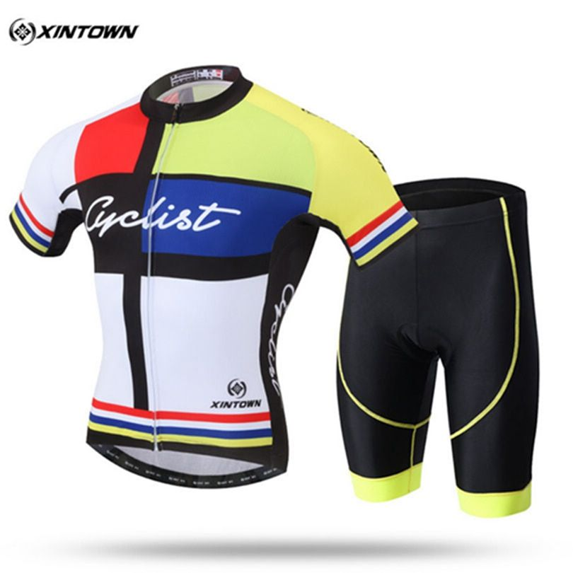 XINTOWN Team Mens Short Sleeve Ropa Ciclismo Maillot Cycling Jersey Set Mountain Bike Clothing Breathable Bicycle Clothes