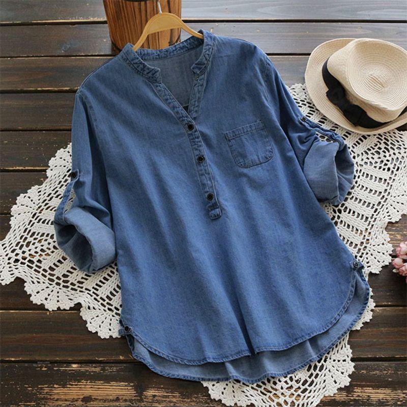 S 5XL ZANZEA Women Retro Casual V Neck Long Sleeve Baggy Denim Blue Shirts Solid Loose 2018 Fashion Spring <font><b>Work</b></font> Office Blouse