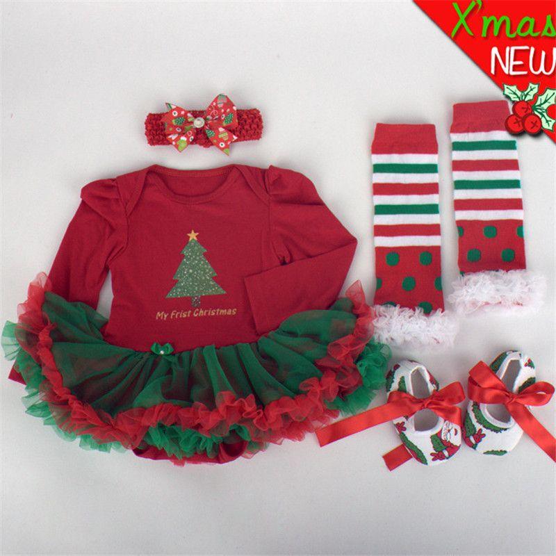 Newborn Baby Clothes Christmas Infant Jumpsuit 4pcs Clothes Set Xmas Baby Girl Clothing Suit Mix Color Toddler Romper Tutu Dress