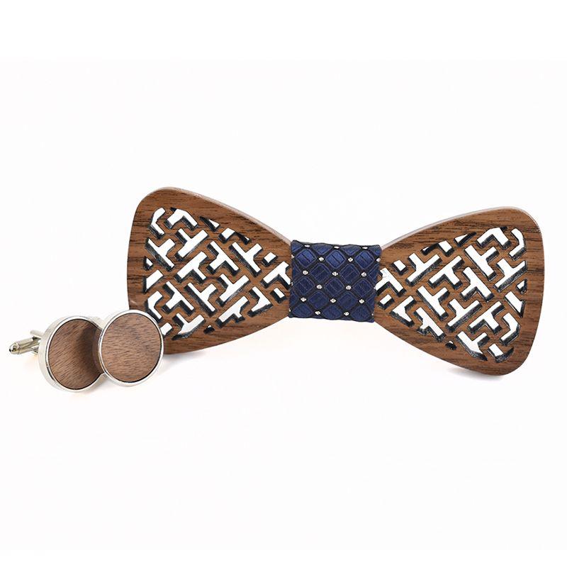 New design geometric carved wooden Cufflinks Tie set Shirt Cufflinks Tie Suit wooden package bow ties for men stropdas
