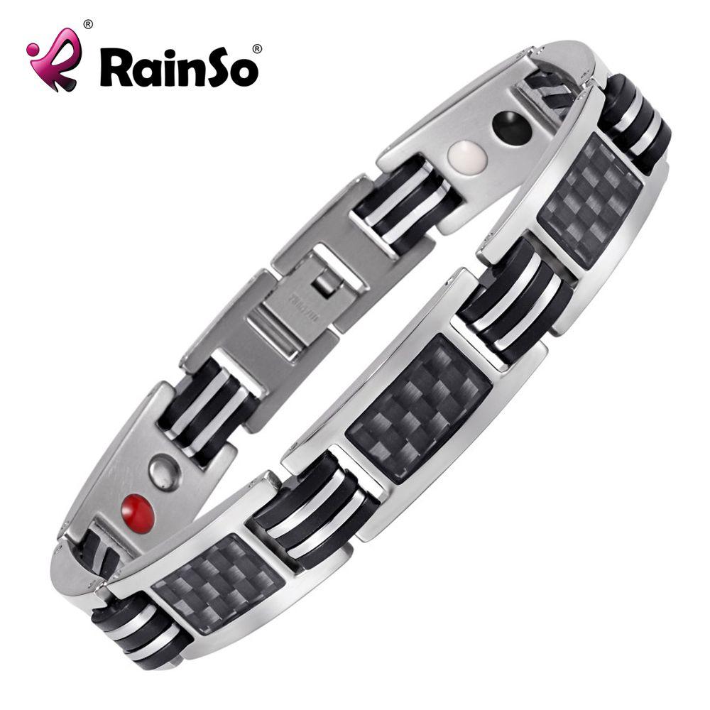 Rainso Chaîne Bracelets Hommes Bijoux D'énergie Magnétique Santé Bracelet Brésil Style Couples Noir Titane Bracelets Main