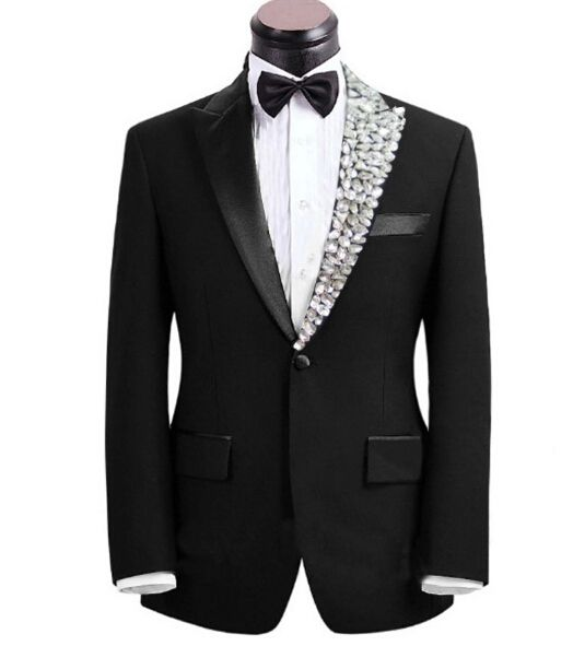 Plus size Mens fashion rhinestone collar Clothes male singer suit set with pants costume bling formal wedding dress married