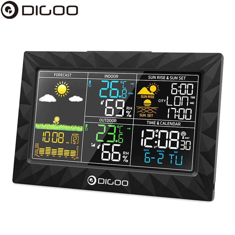 DIGOO DG-TH8988 Weather Station Thin Geometric Design Sunrise Sunset Display Thermometer Hygrometer Temperature Humidity Sensor