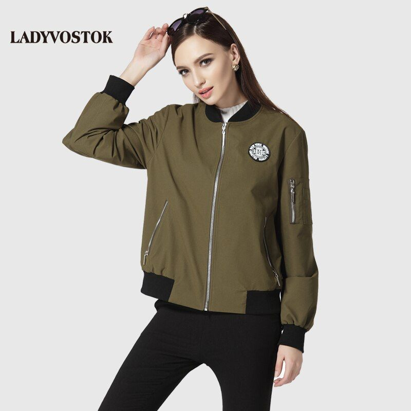 LADYVOSTOK female coat casual windbreaker fashion female casual short military green personality 17-100
