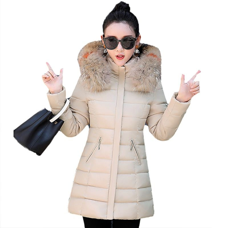 Women Winter Cotton Padded Jacket New Style Fashion Hooded Fur collar Coat Casual Slim Big yards Female Warm Parkas LADIES797