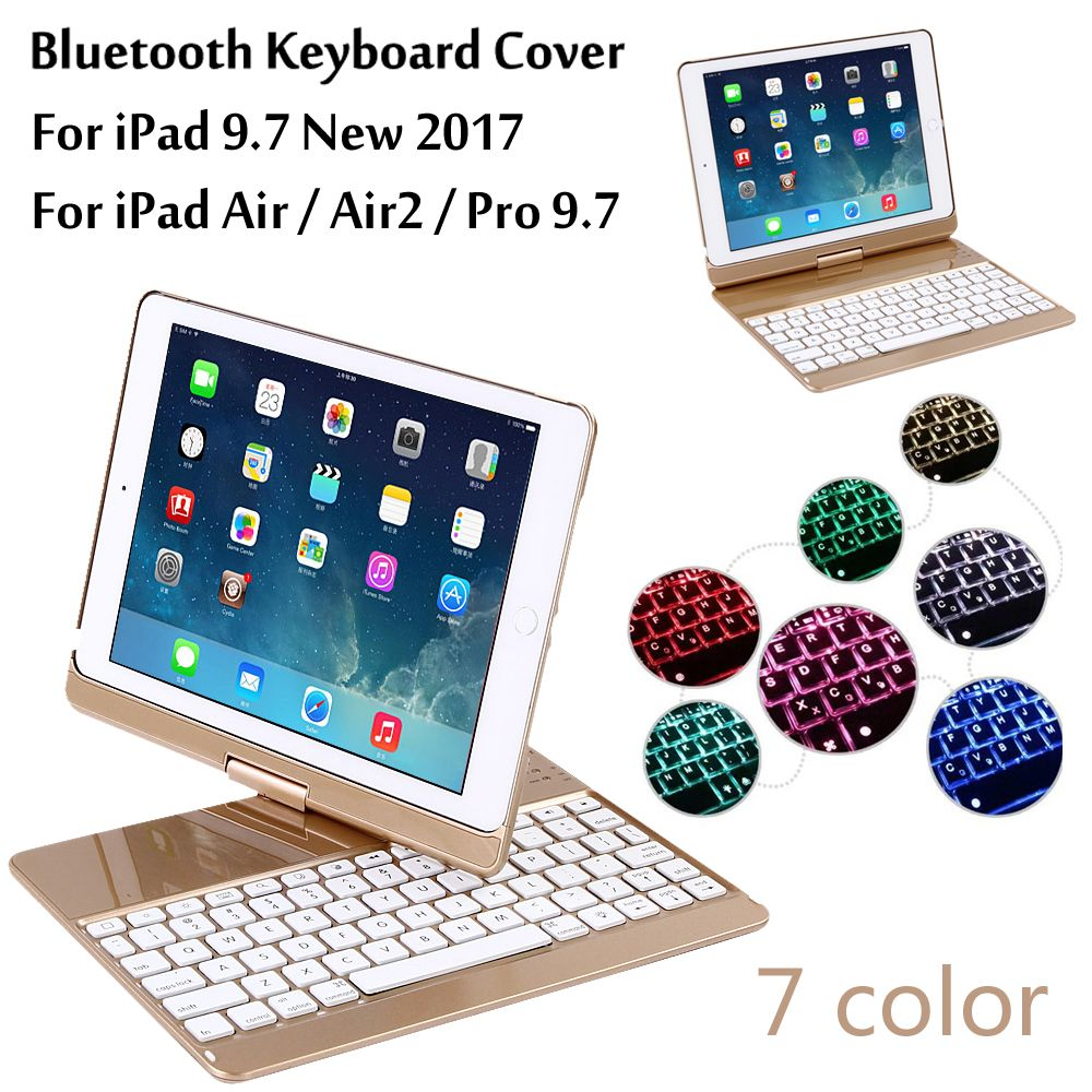 For iPad 9.7 2017 2018 7 Colors Backlit Light Wireless Bluetooth Keyboard Case Cover For iPad 5 / 6 / Air / Air 2 / Pro 9.7+Gift