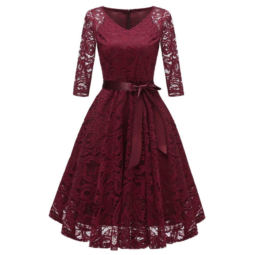 Women's Vintage 3/4 Sleeve V Neck Belt Tunic Slim Swing Bridesmaid Floral Lace Dress Wedding Party A Line Dresses Vestidos