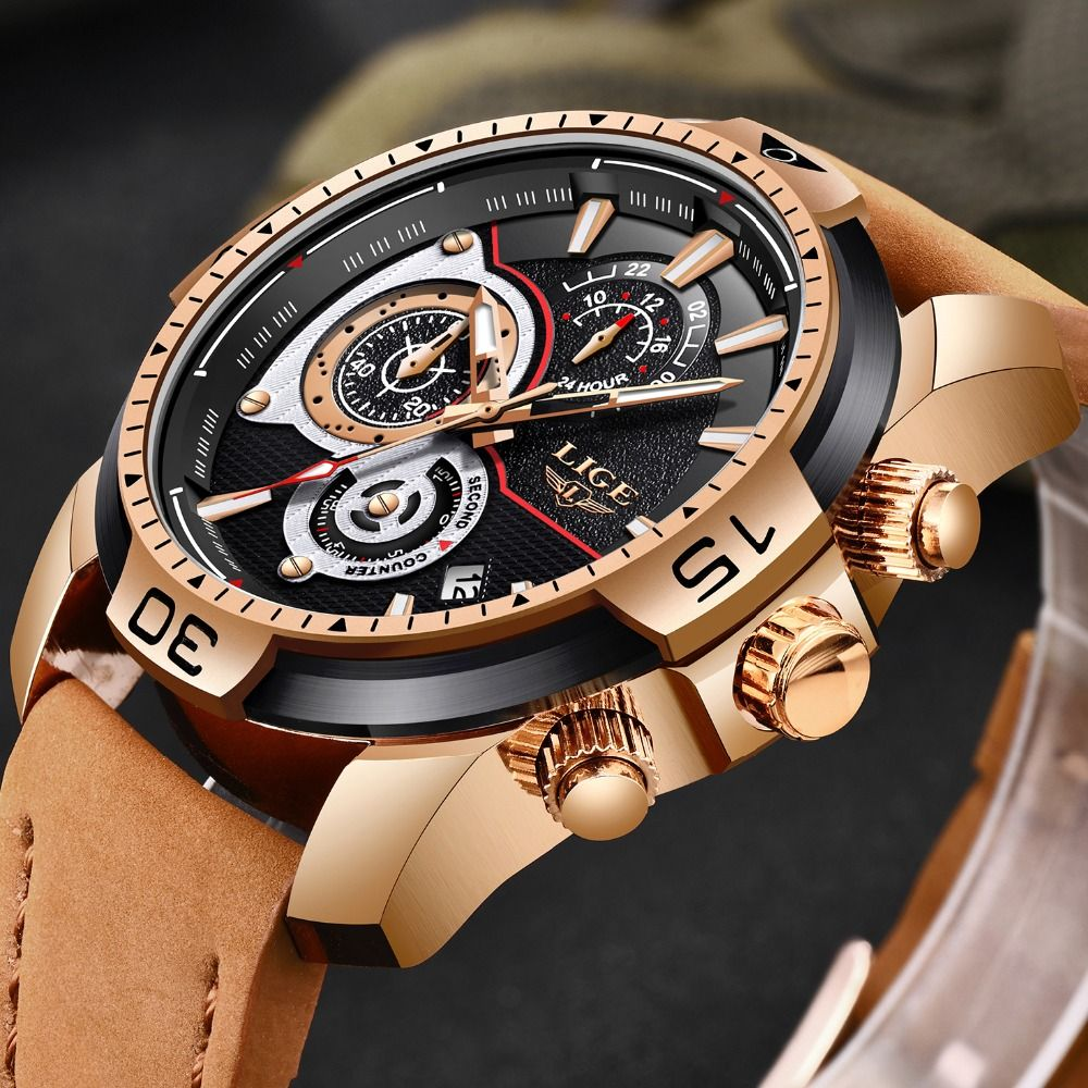 LIGE Herren Uhren Top Brand Luxus Casual Leder Quarz Uhr Männliche Sport Wasserdichte Uhr Geschenk Gold Uhr Männer Relogio Masculino
