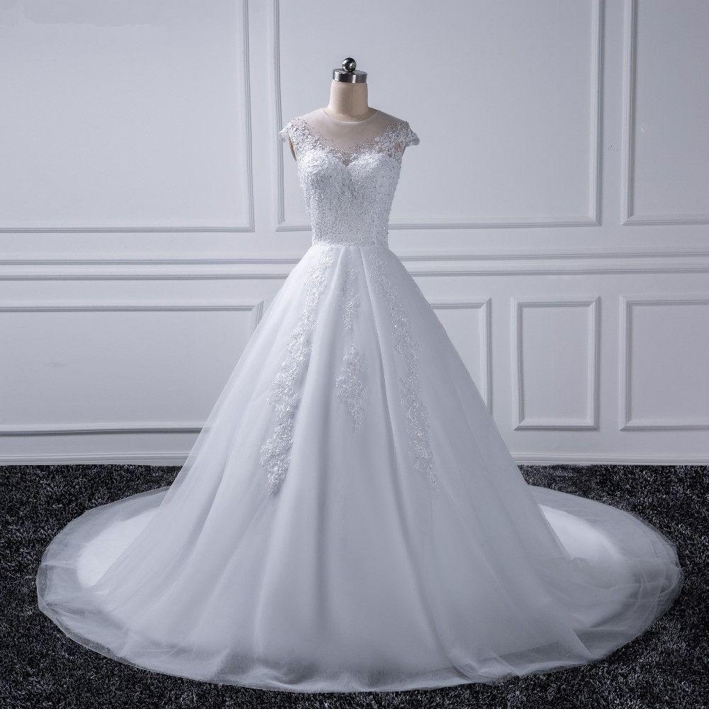 2018 Princess Plus Size Wedding Dresses 2016 Bride Gown Ivory Lace White Vestido De Noiva Vintage Casamento china-online-store