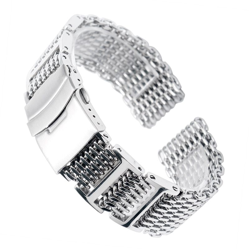 20/22/24mm HQ Shark Mesh Silver Stainless Steel Watchband Replacement Bracelet Men Folding Clasp with Safety Watch <font><b>Band</b></font> Strap