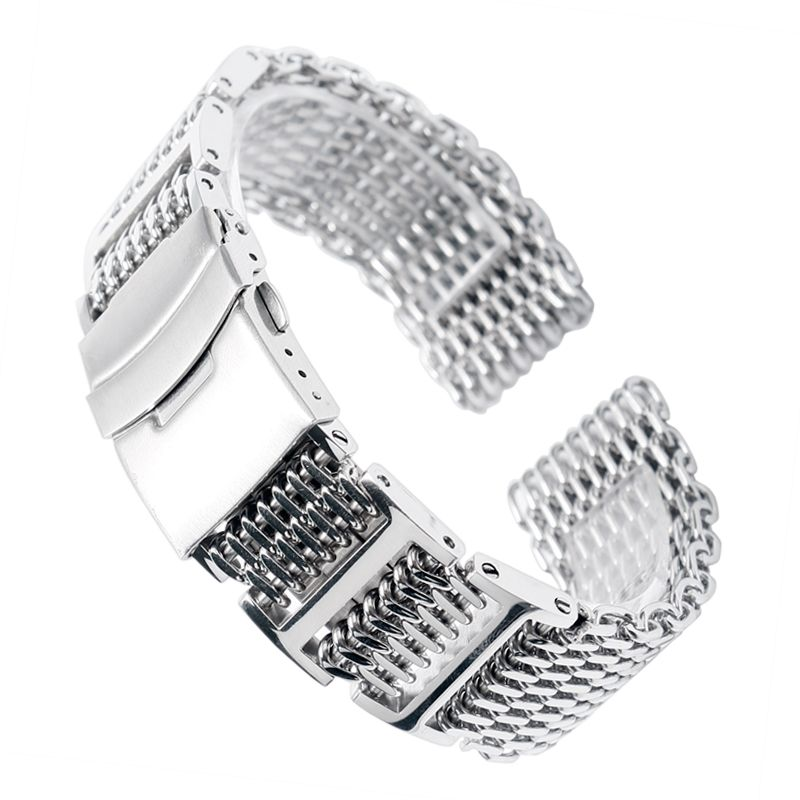 20/22/24mm HQ Shark Mesh Silver Stainless Steel Watchband Replacement Bracelet Men <font><b>Folding</b></font> Clasp with Safety Watch Band Strap
