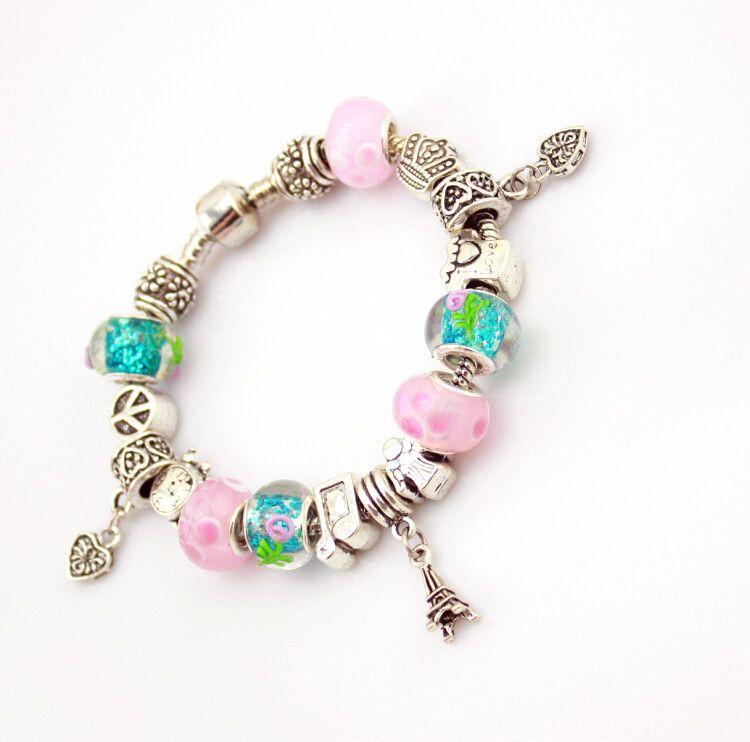(Avec la Boîte) PB ilver Chanceux Trèfle Charme Bracelets avec Clear Murano Verre Perles Bracelet pour Femmes Filles Bijoux Cadeau