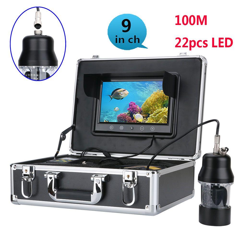 20 mt 50 mt 100 m Unterwasser Angeln Video Kamera Fisch Finder 9 zoll Farbe Bildschirm Wasserdicht 22 LEDs 360 grad Rotierenden Kamera