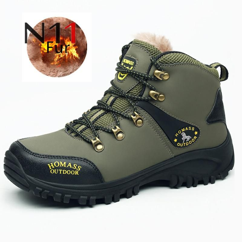 N11 Brand Big size New Men Boots for Men Winter Snow Boots Warm Fur&Plush Lace Up High Top Fashion Men Shoes Sneakers Boots