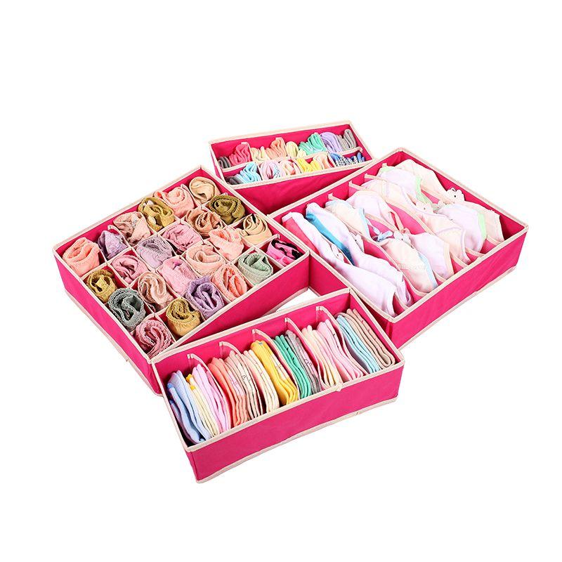 4 pcs/ensemble Pliable De Rangement Diviseur Boîte de Soutien-Gorge Tissu Non tissé Pliant Cas Cravate Chaussettes Sous-Vêtements Organisateur Conteneur