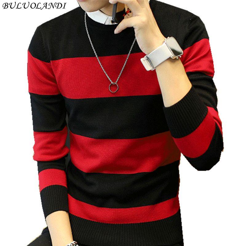 Горячая продажа мужской свитер 2017 Демисезонный новых студентов Южной Кореи Тонкий Молодежи полосатый свитер красный и черный два цвета M -XXL