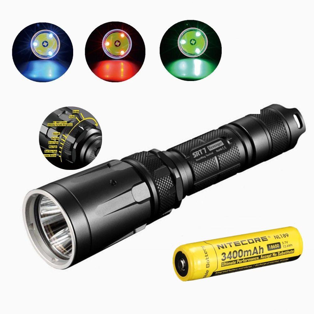 NITECORE SRT7 Taschenlampe CREE XM-L2 960LM Smart-Selector Ring Suche Torch grün blau rot w/Nitecore NL189 18650 3400 mah batterie