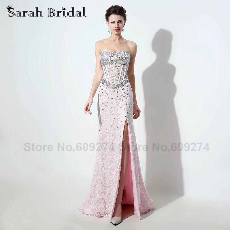 Arabic Style Evening Dresses 2017 High Slit Pink Lace Sexy vestidos formales Sweetheart Crystals Mermaid Long Dress SD327