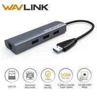 Wavlink 3 puertos Usb Hub RJ-45 lector de tarjetas 3,0 Gigabit Ethernet USB 3,0 Hub adaptador de aluminio para dispositivos USB para Windows Mac OS