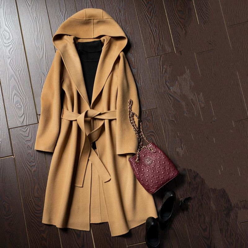 The new spring and winter Parka female hand double cashmere wool coat woolen coat long warm coat