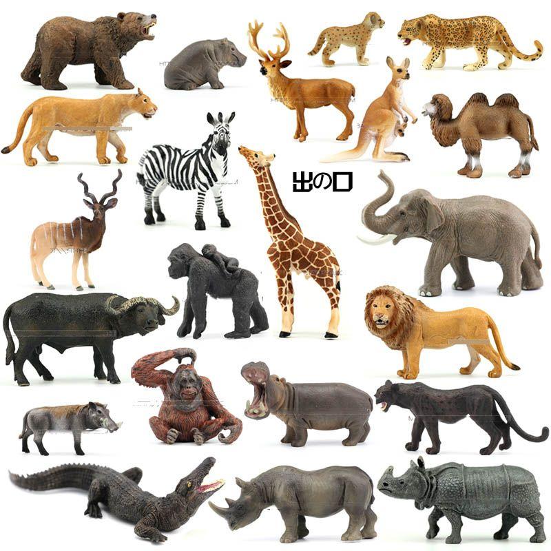 Genuine jungle wild farm Zoo animal sets lion tiger hippo rhino elephant warthog figurines kids learning toy children gift