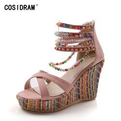 COSIDRAM New 2018 Summer Fashion Woman Sandals Shoes Bohemian Sandals Comfortable Sweet Wedge Heels Shoes for Girls SNE-045