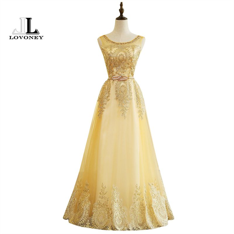 LOVONEY M224 Real Photo A-Line Appliques Golden Long Prom Dresses 2017 Graduation Party Dresses Lace-Up Back Vestido De Festa