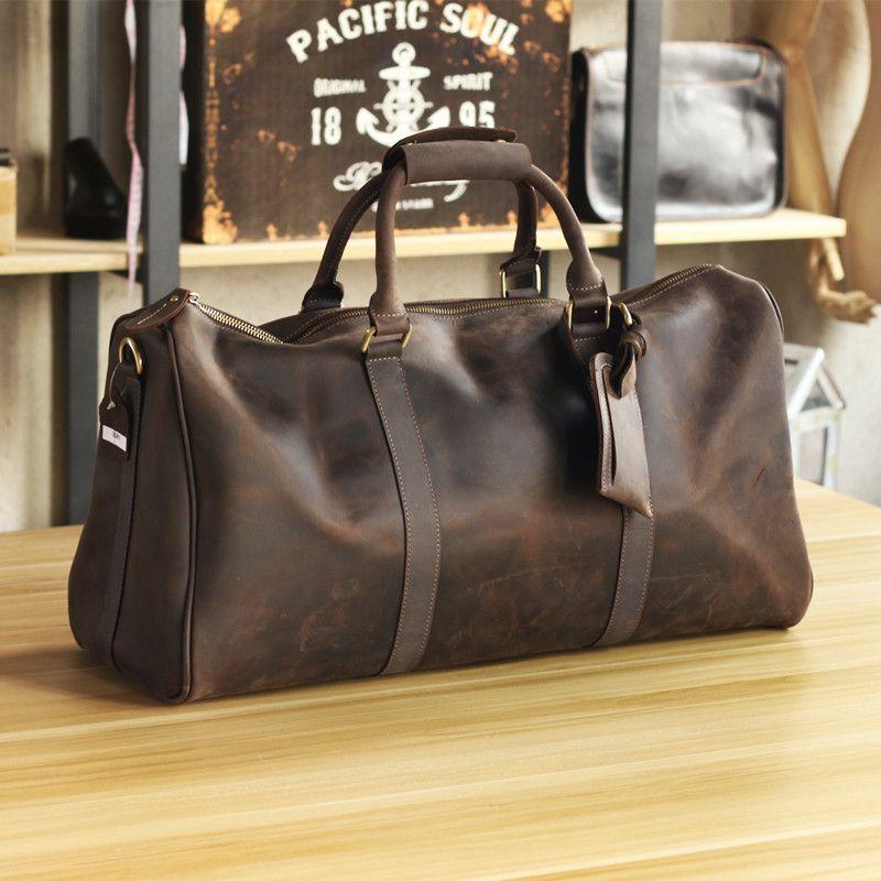 Luxus Reine Handarbeit Crazy Horse Leder herren Reisetaschen Große Vintage Männer Leder Handtaschen Perfekte Qualität Aus Echtem Leder Tasche