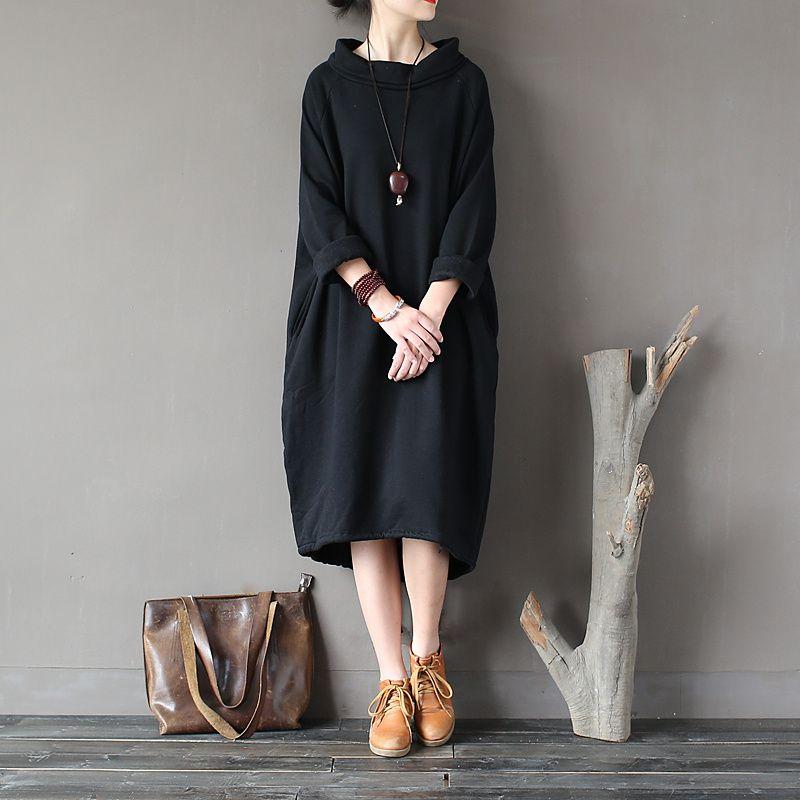 SCUWLINEN 2019 Autumn Winter Dress 100% Cotton Women Dress Vestidos <font><b>Loose</b></font> Fleece Thickening Turtleneck Long-sleeve Long Robe S60