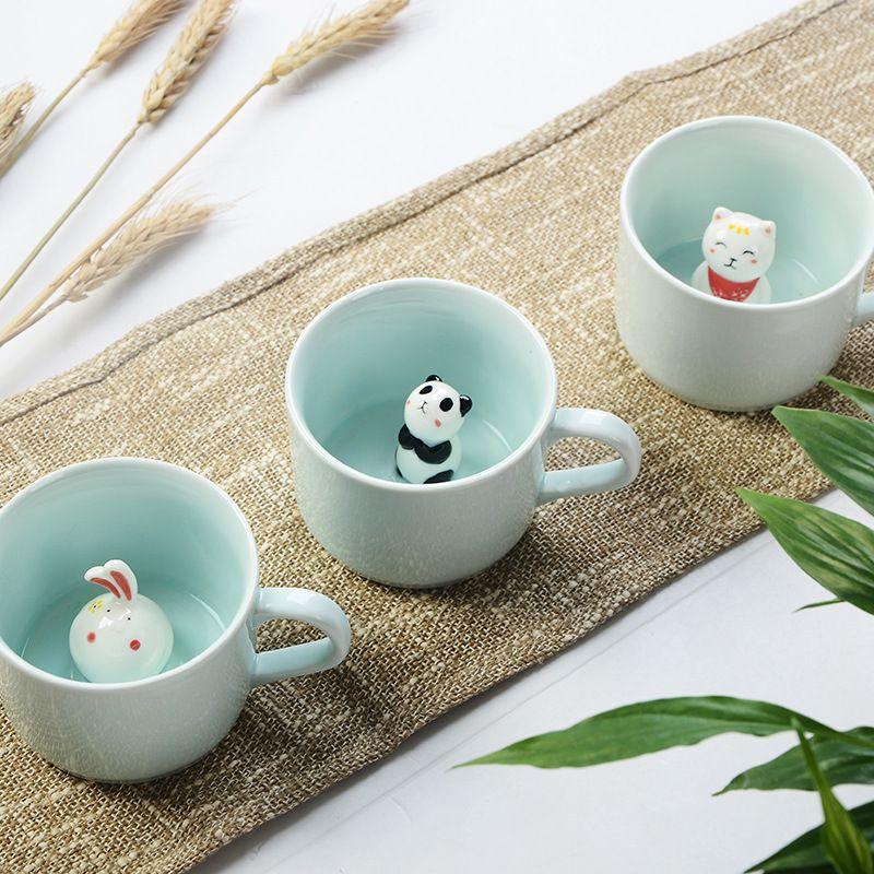 Créatif 230 ML 3D kawaii dessin animé animal en céramique lait tasse mignon Panda tasse à café cadeau d'anniversaire